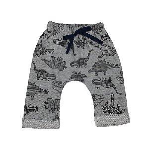 Calça Saruel Infantil Masculino Moletinho Estampa Dinossauro