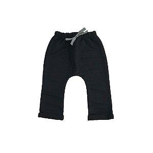 Calça Saruel Infantil Masculina Moletinho Preta