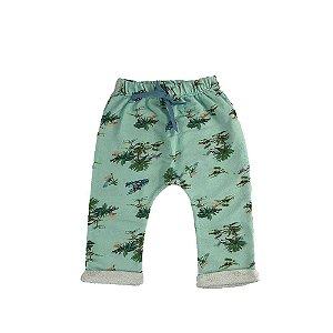Calça Saruel Infantil Masculina Moletinho Verde com Estampa Coqueiros