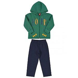 Conjunto Moletom Peluciado Infantil Masculino Jaqueta e Calça  Estampa Divertida