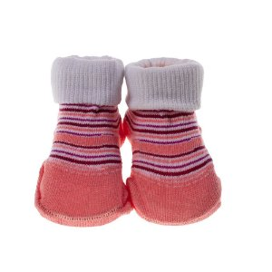 Meia Bebe Baby in Box Feminina Estampa Listrada Cor Rosa (16-21)