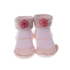 Meia Bebe Baby in Box Feminina Cor Rosa – Aplicado Flor (16-21)