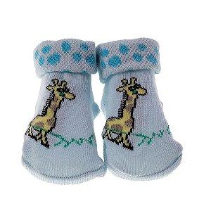 Meia Bebe Baby in Box Masculina Estampa Girafa Cor Azul (16-21)