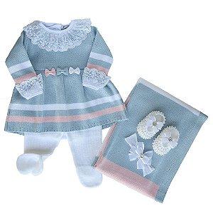 Saída De Maternidade Feminina Azul Com Lacinhos - (Vestido + Calça + Manta)