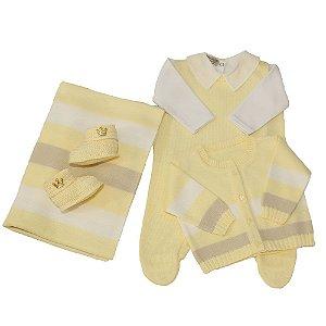 Saída De Maternidade Masculina Amarela Listrada - (Jardineira + Calça + Manta)