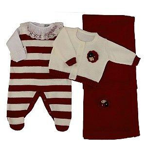 Saída De Maternidade Feminina Vermelha Luxo - (Jardineira + Casaco + Manta)