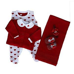 Saída de Maternidade Feminina - Estampa Corações (Jardineira + Manta+ Casaco)