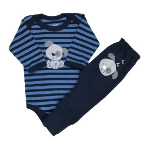 Body + Culote Azul com Estampa de Cachorrinho - Doctor Baby