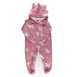 Macacão Longo Bebê Feminino FLEECE - Estampa Unicórnio Rosa
