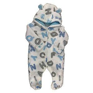 Macacão Longo Bebê FLEECE - Estampa Letras - Branco/Azul  (P)