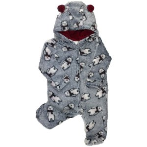 Macacão Longo Bebê Masculino FLEECE - Estampa Urso - Cinza - (P)