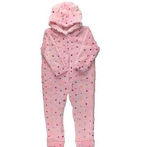 Macacão Longo Bebê Feminino FLEECE - Estampa POA - Rosa