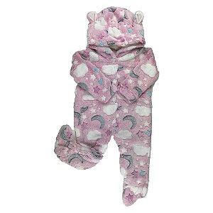 Macacão Longo Bebê FLEECE - Estampa Nuvens/Lua - Rosa  (G)