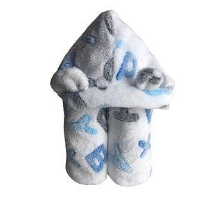 Manta Fleece com Capuz e Orelhinha Estampa Letras