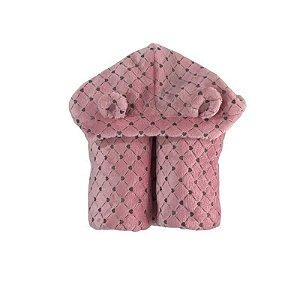 Manta Fleece com Capuz e Orelhinha Estampa Coração - Rosa