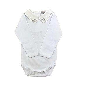 Body Manga Longa Luxo Gola Camisa Bordado de Coroa - Bebê Menino