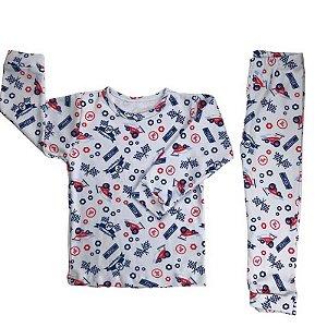 Blusa Manga Longa + Calça/Culote - Estampa de Carrinho