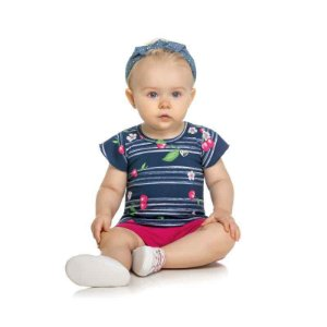 Conjunto Bebê Blusa Cereja e Shorts