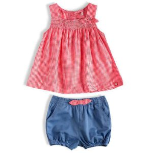 Conjunto Bebê Feminino Shorts Jeans e Bata Coral - Tip Top