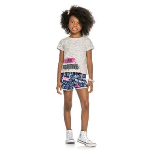 "Conjunto Infantil Feminino Blusa e Shorts Cotton ""Think Positive"""