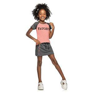 "Conjunto Infantil Feminino Blusa e Saia Shorts ""Favorite"""