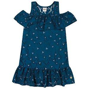 Vestido Infantil Tule Estampa Corações e Babado