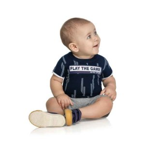 Conjunto Bebê Masculino Camiseta e Bermuda Play the Game