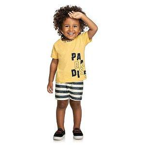 Conjunto Infantil Masculino Camiseta Bermuda Estampa Paradise