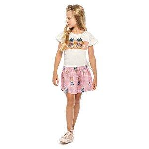 """Conjunto Infantil Feminino Blusa e Saia Shorts - """"Óculos com Lantejoula"""""""