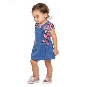 Conjunto Bebê Feminino Body e Salopete Jeans