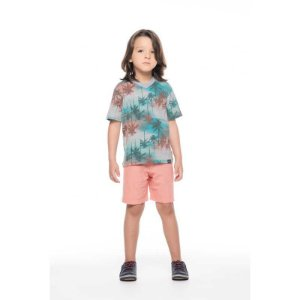 "Conjunto Infantil Masculino Bermuda e Blusa - ""TIE-DYE"""