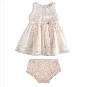 Vestido Bebê Festa Luxo Organza Off White - TIP TOP