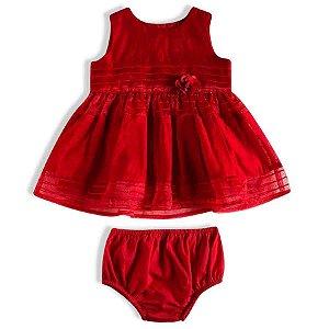 Vestido Bebê Festa Luxo Organza Vermelho - TIP TOP