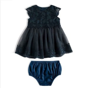 Vestido Bebê Festa Luxo Bordado Azul Marinho - TIP TOP