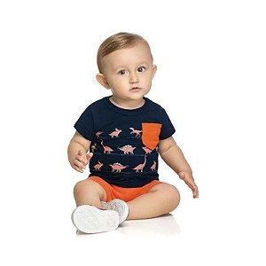 Conjunto Bebê Masculino Camiseta e Bermuda com Estampa Dinossauro