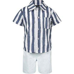 Conjunto Infantil Masculino Camisa e bermuda -  Branco