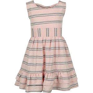 Vestido Infantil Rosa Listrado com Laço nas Costas