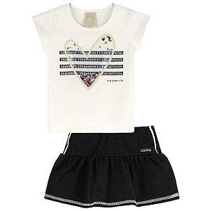 Conjunto Infantil Blusa e Saia Shorts Estampa Coração com Lantejoula