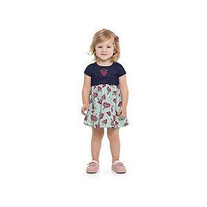 Vestido Bebê Com Estampa Melancia (Jeans Denin)