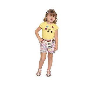 Conjunto Bebê Blusa Bordada e Shorts Estampa Coração - Lovely - Playground
