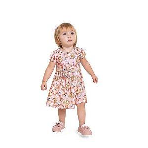 Vestido Bebê Estampa Ursinho com Laço