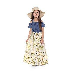 Vestido Infantil Longo Florido