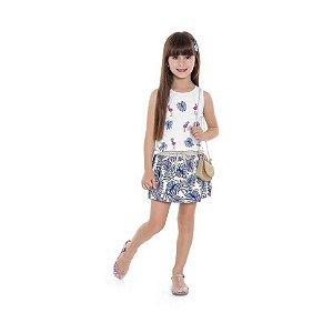 Conjunto Blusa Regata com Pom Pom e Shorts Saia Estampa Flamingo