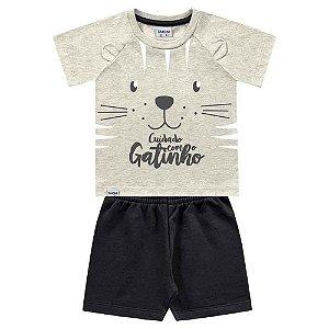 Conjunto Bebê Masculino Camiseta e Bermuda Estampa de Gatinho