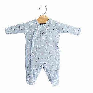 Macacão longo Bebê Masculino Cachorrinho - Azul - Algodão Egípcio e Preteção UV+50 - Piu Piu