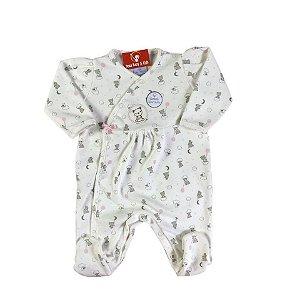 Macacão longo Bebê Feminino Ursinho Balão Rosa - Algodão Egípcio e Preteção UV+50 - Piu Piu