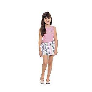 Conjunto Feminino Regata e Shorts Saia - Listrado - Playground