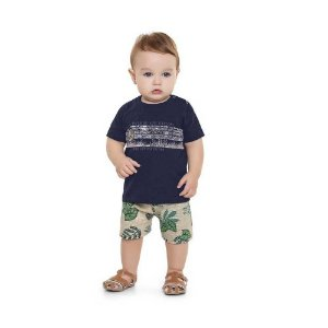 "Conjunto Bebê Masculino Camiseta e Bermuda - ""Go Outside"" - Playground"