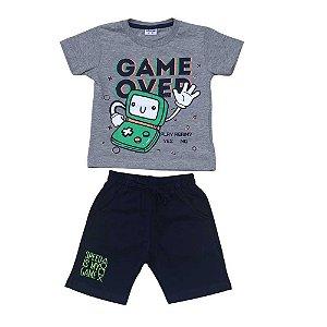 Conjunto Menino Camiseta e Bermuda  - Game Over - Marinho