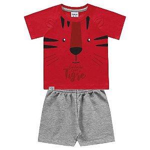 Conjunto Bebê Masculino Camiseta e Bermuda Estampa de Tigre